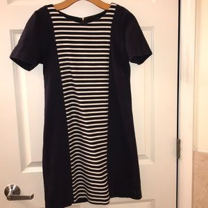 Easy to wear navy and white striped dress